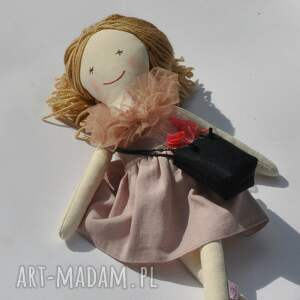 hand-made lalki lalka lisa w pudrowej sukience