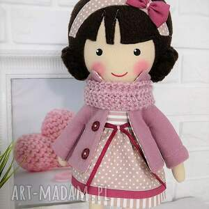 zabawka lalki malowana lala szarlota z wełnianym