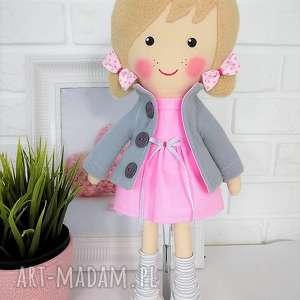 lalka lalki różowe malowana lala aśka z szalikiem