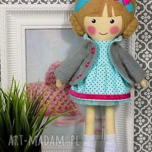 lalka lalki turkusowe malowana lala nina z wełnianym