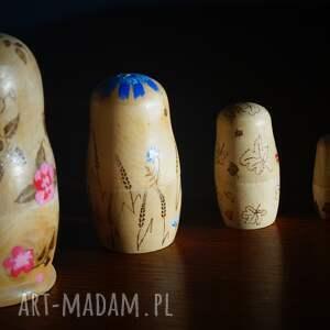 niebieskie lalki drewno matrioszka 4 pór roku - ręcznie