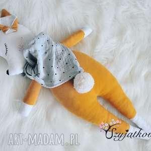 handmade lalki przytulanka musztardowa sarenka z imieniem