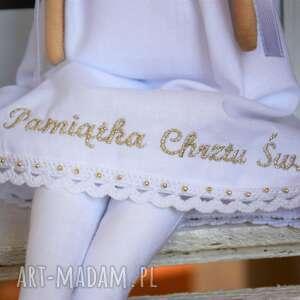 FabryqaPrzytulanek lalki: Pamiątka Chrztu Świętego anioł z osobistym haftem - tilda