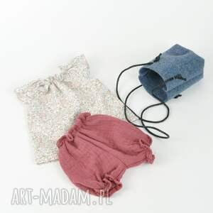 niebieskie lalki ubranka pastelowa tunika bloomersy