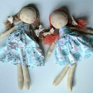 lalka lalki turkusowe szyta laleczka szmacianka