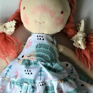 turkusowe lalki laleczka szyta szmacianka. Gotowa