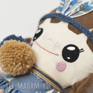 niebieskie lalki lalka uśmiechnięta indianka, szmaciana