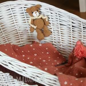 lalki dlalalek wiklinowa kołyska biała z brązowym