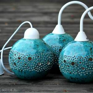 wisząca ball lampa turkusowa