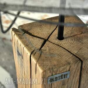 Lampa LOFT drewniana, dębowa - wysoka - naturalna