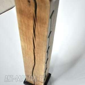 debowa białe lampa loft drewniana, dębowa