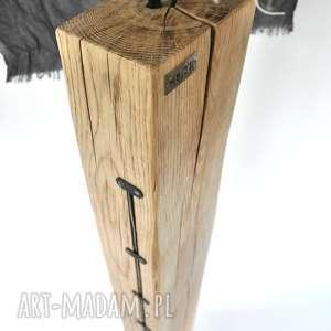 szare loftowa lampa loft drewniana, dębowa
