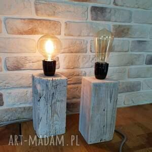 decor białe lampa loft - drewno z recyklingu