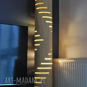 zyrRafo Lampa podłogowa z naturalną fakturą drewna - stojąca