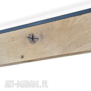 biurko lampy rift, dębowe z czarną listwą, świecące