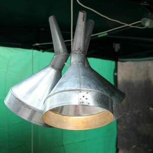 srebrne lampy modern lampa z lejków