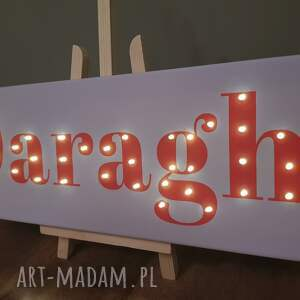 czerwone lampy lampa napis led twoje imię świecący obraz