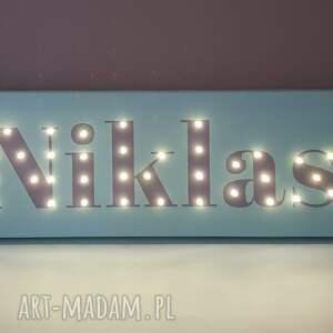 lampy led obraz z imieniem napis