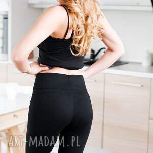legginsy damskie kobiece seksowne czarne bawełniane