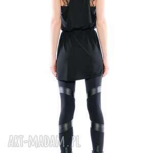 niesztampowe legginsy czarne leggisny - futurystyczne tiulowo