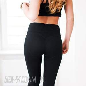 nietypowe legginsy nasiłownie modne czarne z fajnym