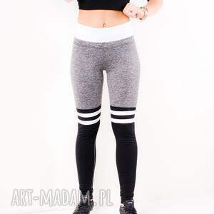 szare legginsy modne dopasowane sportowe