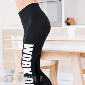nietypowe legginsy redmasterclothes modne czarne z fajnym