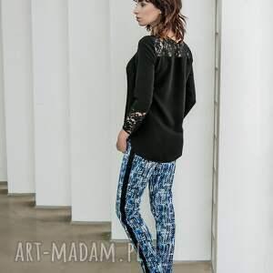 intrygujące legginsy spodnie pixels niebieskie