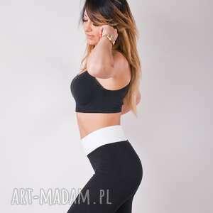 spodnie legginsy sportowe czarne dopasowane damskie