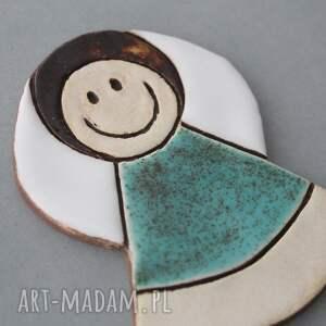 turkusowe magnesy chrzest aniołek magnes ceramiczny