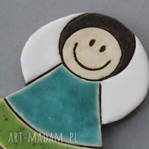 zielone magnesy chrzest aniołek magnes ceramiczny