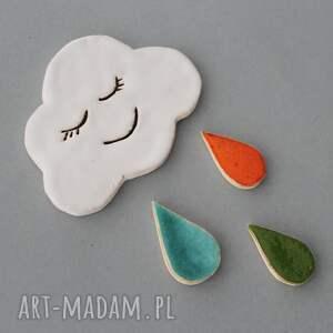 efektowne magnesy kolekcjoner chmurka i krople ceramika