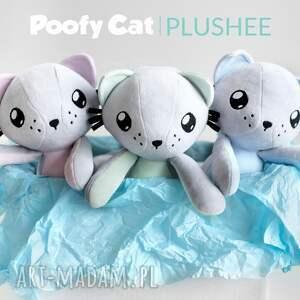niebieskie maskotki kot przytulanka - poofy cat plushee