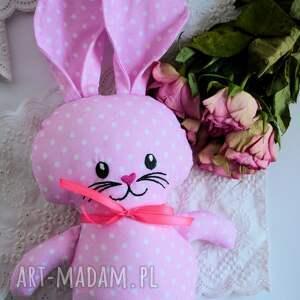 różowe maskotki królik króliczek do tulenia - olcia