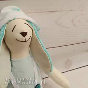 turkusowe maskotki przytulanka króliczek tilda