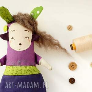 niebieskie maskotki lalka waldorfska handmade z tkaniny - saba