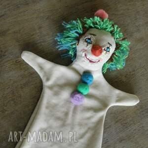 awangardowe maskotki lalka pacynka zielony klown