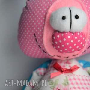 różowe maskotki prezent miś franciszek, szyta przytulanka