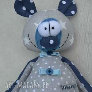 niebieskie maskotki miś franciszek w szarościach. szyta