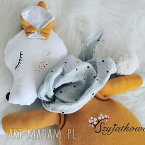 przytulanka maskotki pomarańczowe musztardowa sarenka z muślinową