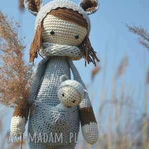 handmade maskotki dziecko piękna szydełkowa lala z bobaskiem