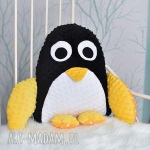 białe maskotki przytulanka minky poduszka dziecięca pingwin