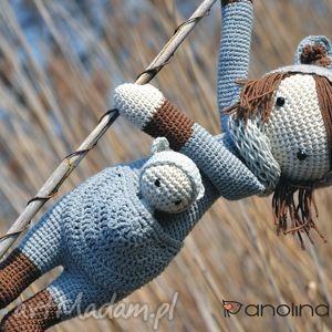 handmade maskotki prezent piękna szydełkowa lala z bobaskiem