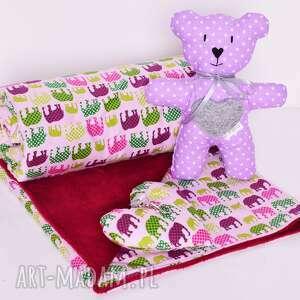 Prezent z okazji narodzin. Komplet niemowlaka Pink Elephants - roczek niemowlak