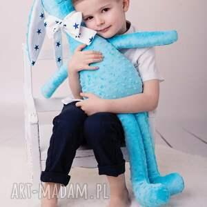 niebieskie maskotki królik-minky przytulanka dziecięca królik duży