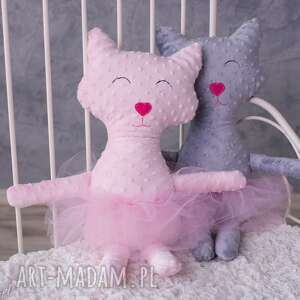 różowe maskotki poduszka-kot przytulanka kot minky