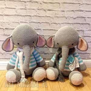 szare maskotki chrzciny słoń gigant - szydełkowy przyjaciel