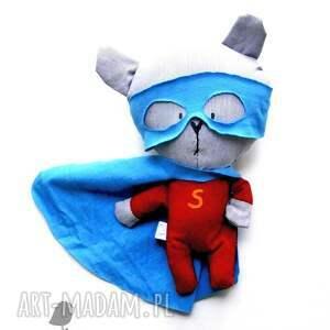 niebieskie maskotki maska super bohater - miś