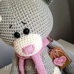 białe maskotki crochet szydełkowy duży miś me to you - dla