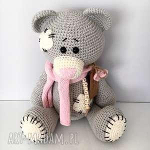 babyshower maskotki różowe szydełkowy duży miś me to you - dla